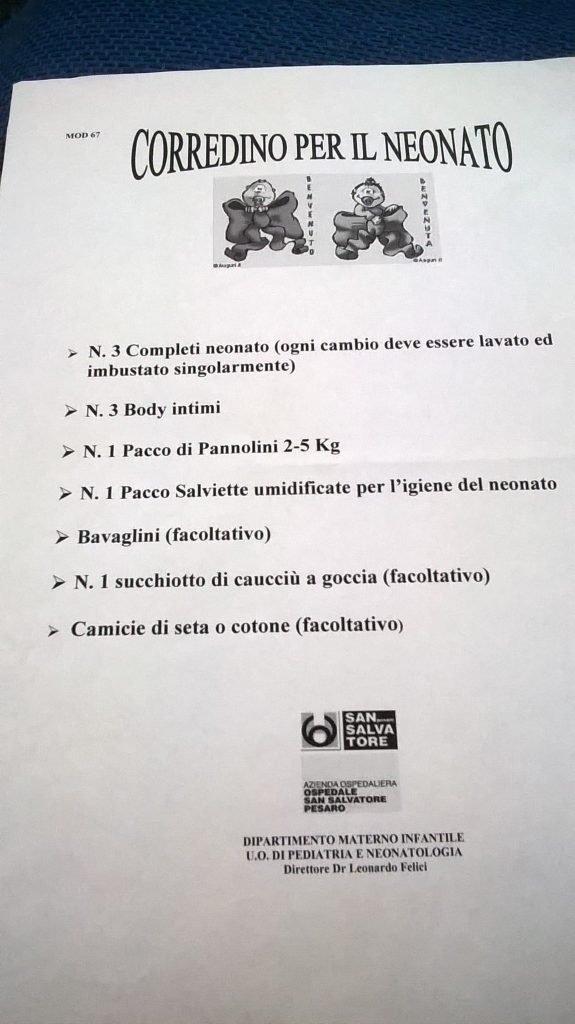 grande sconto per vendita calda reale per tutta la famiglia La valigia per il parto all'Ospedale di Pesaro ...