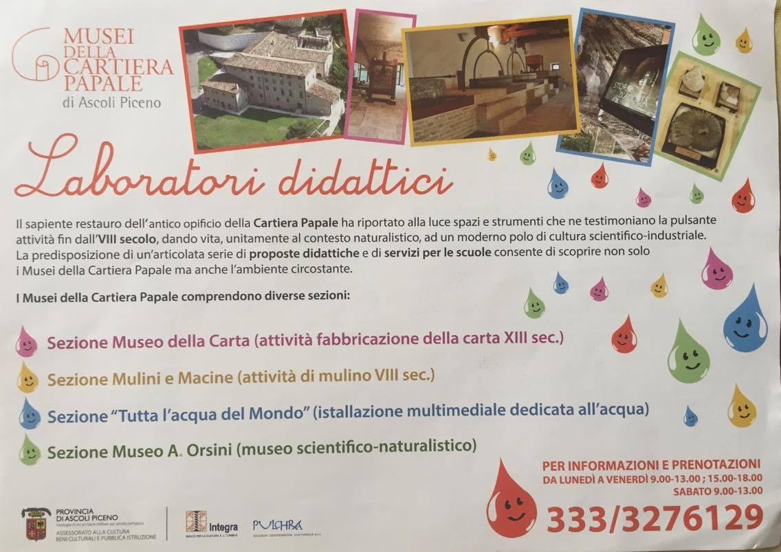 laboratori didattici musei cartiera papale ascoli piceno