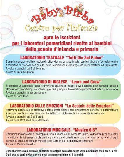 Calendario Bambini Scuola Infanzia.Baby Birba Al Via Tanti Laboratori Per Infanzia E Primaria