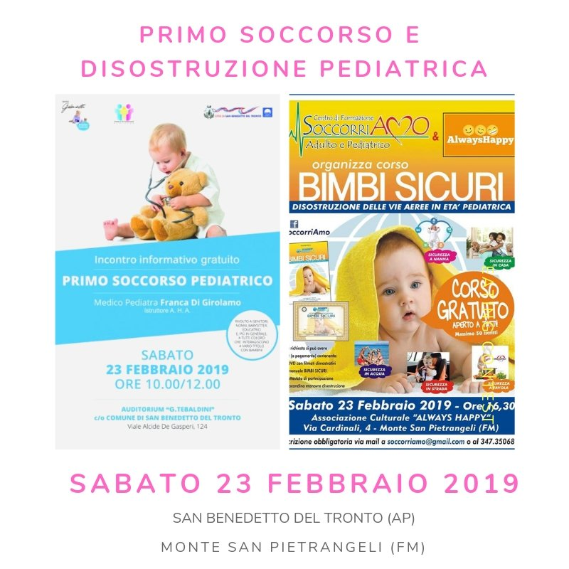 primo soccorso e disostruzione pediatrica corsi a Fermo e Ascoli Piceno