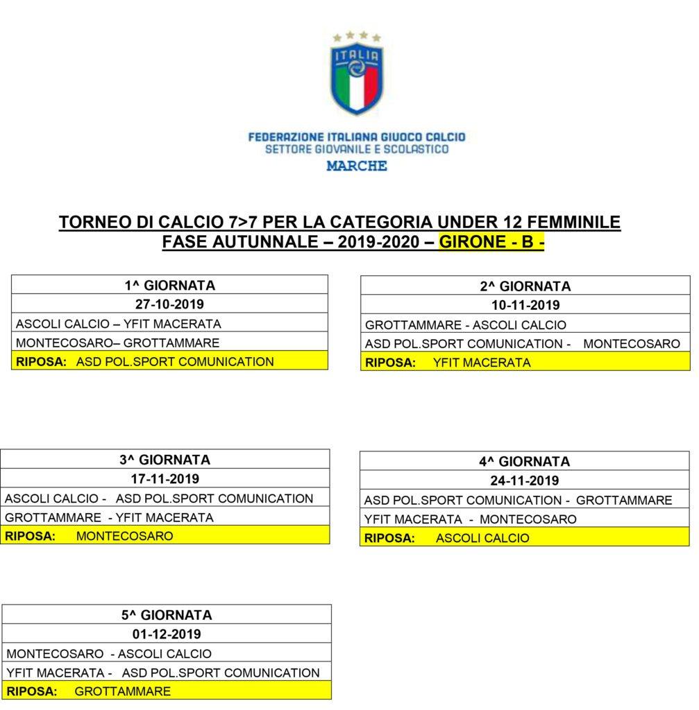 girone B calcio femminile u12 marche