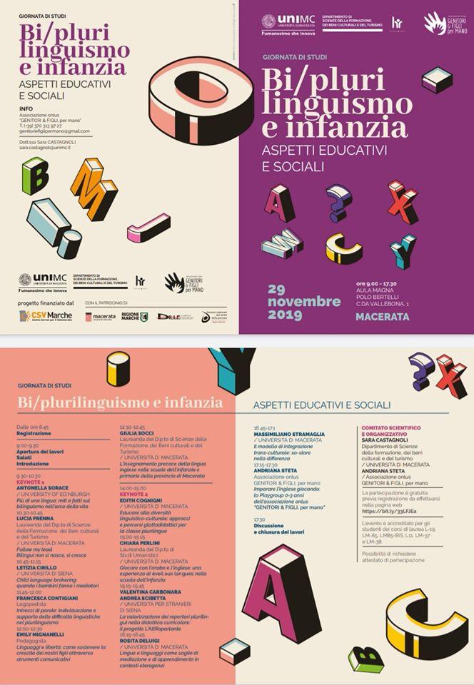 convegno plurilinguismo bilinguismo infantile Macerata locandina