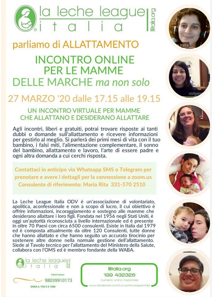 incontro virtuale allattamento LLL