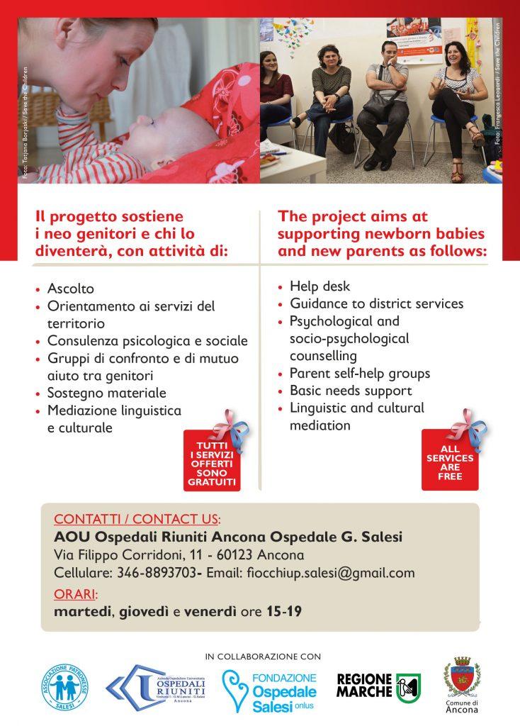 progetto Fiocchi in ospedale locandina Ancona