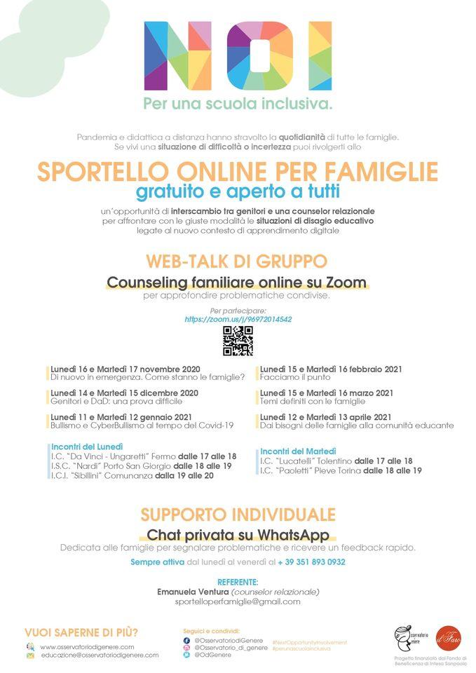 web talk gratuiti per famiglie progetto NOI locandina